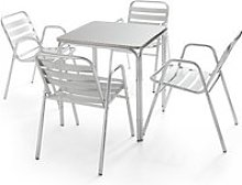 Table de jardin carrée en aluminium 4 places 4