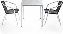 Table de jardin carrée en aluminium avec 2