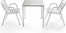 Table de jardin carrée en aluminium et 2