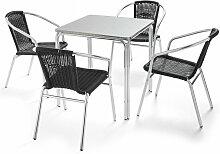 Table de jardin carrée en aluminium et 4 chaises
