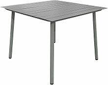 Table de jardin carrée en aluminium gris - PANAME