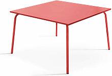 Table de jardin carrée en métal Palavas - Rouge