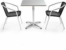 Table de jardin carrée et 2 fauteuils empilables
