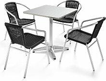 Table de jardin carrée et 4 fauteuils en