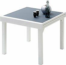 Table de jardin carrée extensible aluminium blanc