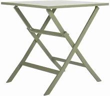 Table de jardin carrée pliable en aluminium vert
