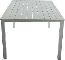 Table de jardin de repas en aluminium blanc