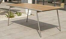 Table de jardin design inox et HPL effet bois -