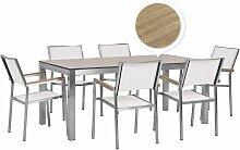 Table de jardin effet bois de chêne 180 cm et 6