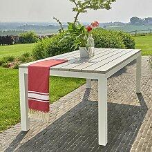 Table de jardin en aluminium blanc et gris 8