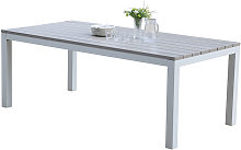 Table de jardin en aluminium blanc et gris 8 places