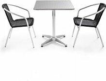 Table de jardin en aluminium carrée et 2