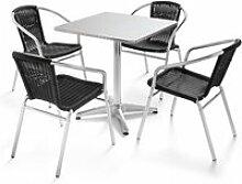 Table de jardin en aluminium carrée et 4