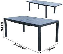 Table de jardin en aluminium et bois avec rallonge