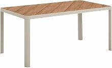 Table de jardin en aluminium et plateau lattes