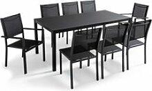 Table de jardin en aluminium et verre 8 places,