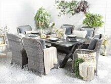 Table de jardin en aluminium gris 200 x 105 cm
