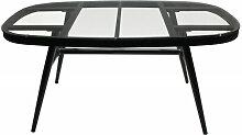 Table de jardin en aluminium gris plateau verre 6