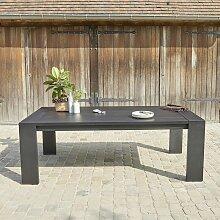 Table de jardin en aluminium noir 6 places - Noir