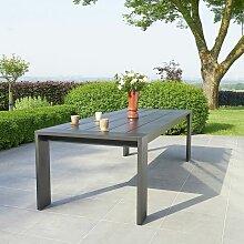Table de jardin en aluminium noir 8 places - Noir