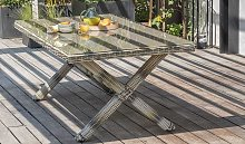 Table de jardin en résine tressée 6 personnes -