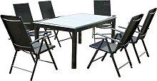 Table de jardin et 6 chaises en aluminium gris