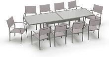 Table de jardin extensible 10 places en aluminium