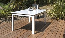 Table de jardin extensible 240/300 alu blanc -