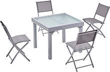 Table de jardin extensible 8 places et 4 chaises