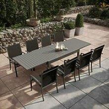 Table de jardin extensible aluminium 135/270cm + 8