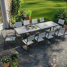 Table de jardin extensible aluminium 270cm + 10