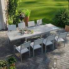 Table de jardin extensible aluminium 270cm + 8