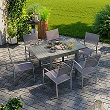 Table de Jardin Extensible Aluminium 83/145cm + 6