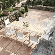 Table de jardin extensible aluminium blanc