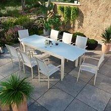 Table de jardin extensible aluminium champagne