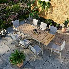 Table de jardin extensible aluminium gris