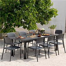 Table de jardin extensible anthracite en aluminium