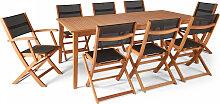 Table de jardin extensible bois 8 places noir