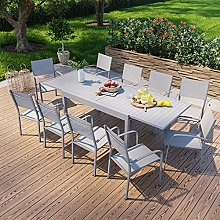 Table de Jardin Extensible en Aluminium 270cm + 10