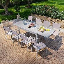 Table de Jardin Extensible en Aluminium 270cm + 8