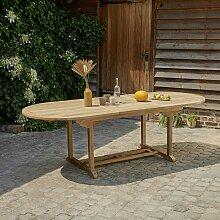 Table de jardin extensible en teck avec rallonge 8