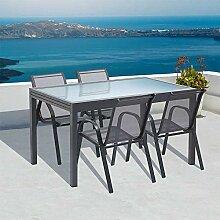 Table de Jardin Extensible en Verre avec 4 chaises