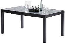TABLE DE JARDIN EXTENSIBLE NOIR & GRIS 6/10 PLACES