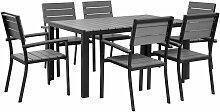 Table de jardin grise et 6 chaises en aluminium