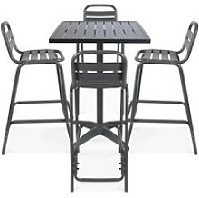 Table de jardin grise mange-debout et 4 chaises