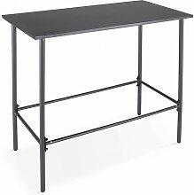 Table de jardin haute en acier thermolaqué gris