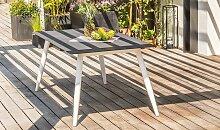 Table de jardin imitation béton et alu blanc 160