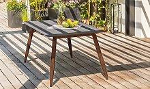 Table de jardin imitation béton et alu marron 160