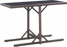 Table de jardin Marron 110x53x72 cm Verre et