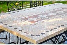 Table de jardin mosaique marbre pierre naturelle
